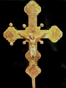 Croce astile del 1378, in rame dorato