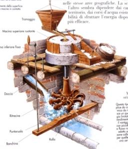 Schema del funzionamento del mulino ad acqua